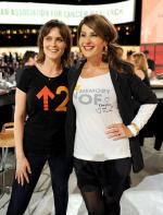 In this handout photo provided by Getty Images, actors Emily Deschanel (L) and Nia Vardalos pose during Stand Up To Cancer at Sony Pictures Studios on September 10, 2010 in Culver City, California.